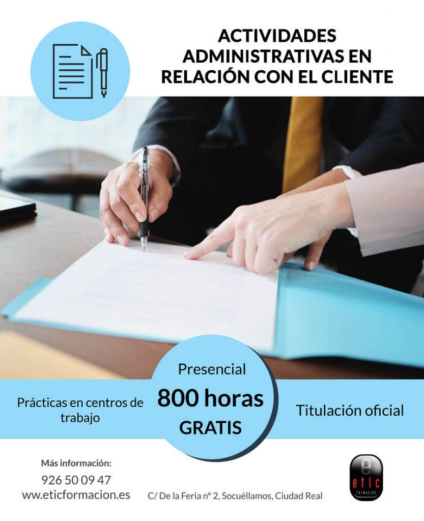 Certificado de profesionalidad de actividades administrativas en relación con el cliente