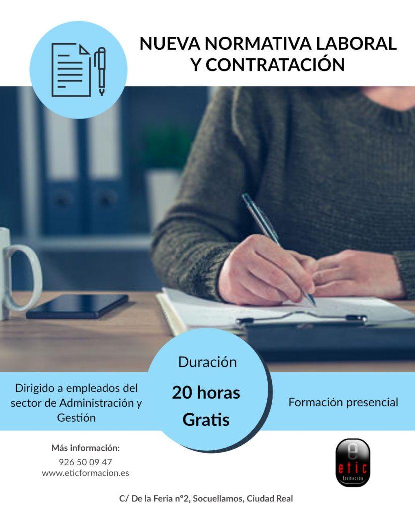 Cartel del curso de normativa laboral y contratación