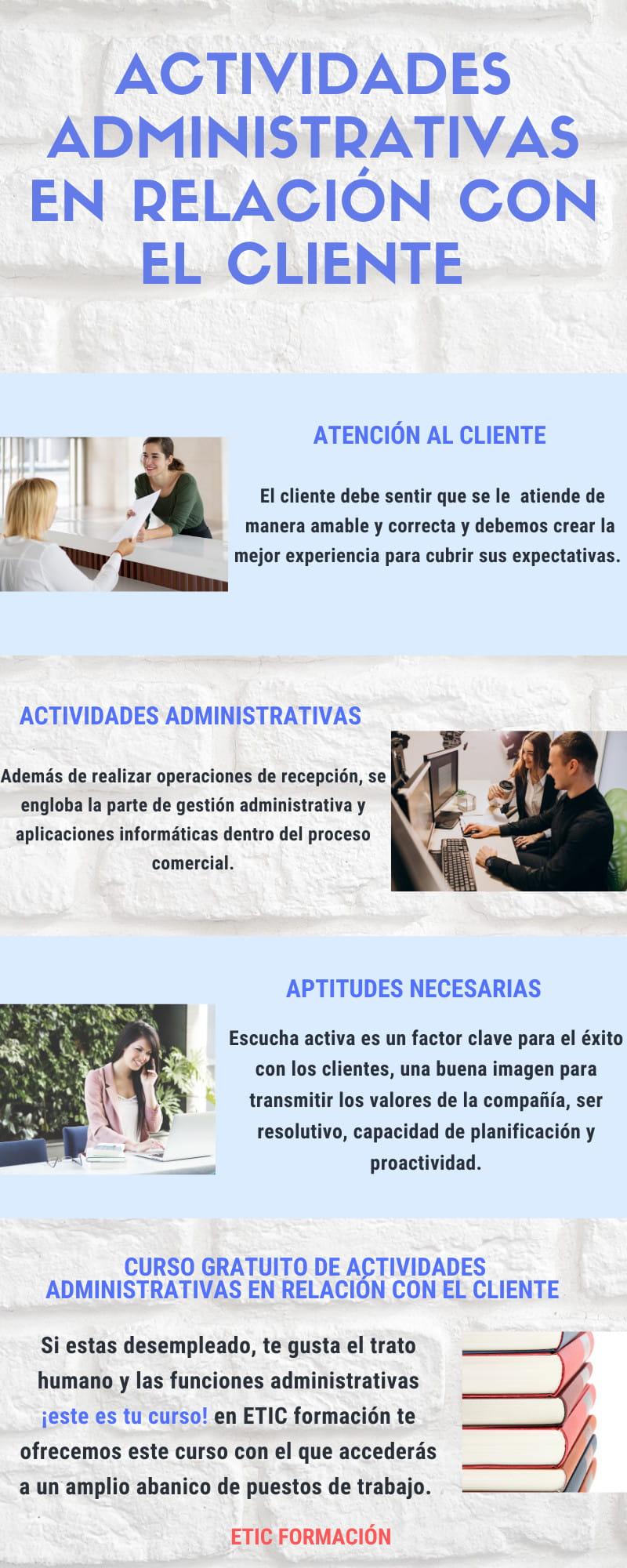 Curso de actividades administrativas en relación con el cliente